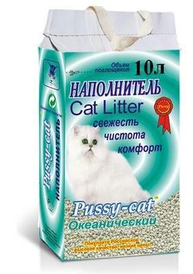 Впитывающий наполнитель для кошек Pussy-Cat цеолитовый, океанический, 5 кг, 10 л