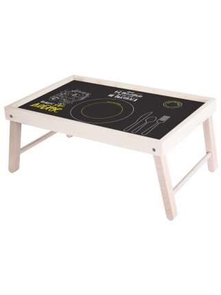 """Столик для завтрака """"Сова и кофе"""" 59х32,5х22 см, беленный, Дубравия, KRK-010-BT"""