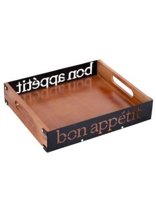 """Поднос сервировочный """"Bon appetit"""" 26x20x5 см,америк. орех, черный, Дубравия, KRK-003-T"""