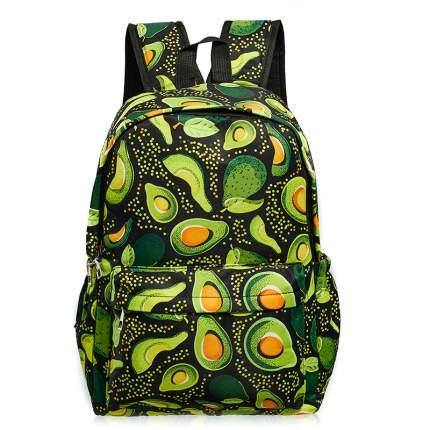 Школьный рюкзак большой авокадо с листочками,черный GK0048A
