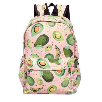 Школьный рюкзак большой авокадо с листочками,розовый GK0048B