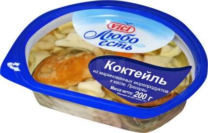 Коктейль Vici Любо есть из маринованных морепродуктов в масле 200 г