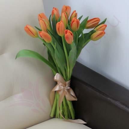 Монобукет из 15 оранжевых тюльпанов FlorPro