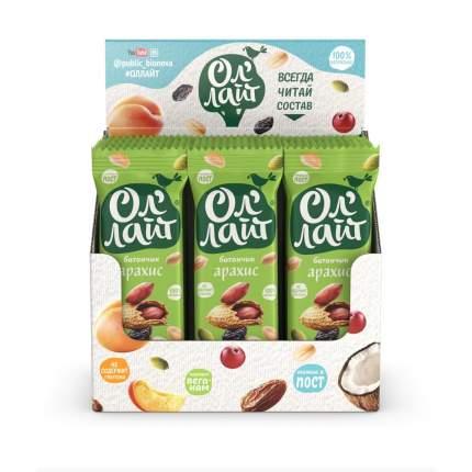 Батончик фруктово-ореховый Ол'Лайт Арахисовый 30г по 25 шт