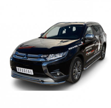 Защита переднего бампера d63 (секции) для Mitsubishi Outlander 2015-2017