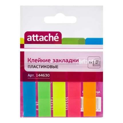 Клейкие закладки Attache пластиковые 5 цветов по 20 листов 12 х 45 мм