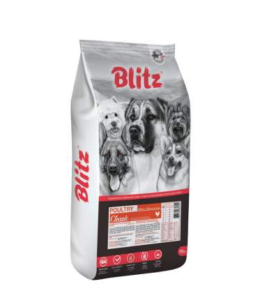 Сухой корм для собак BLITZ ADULT DOG POULTRY, домашняя птица, 15кг