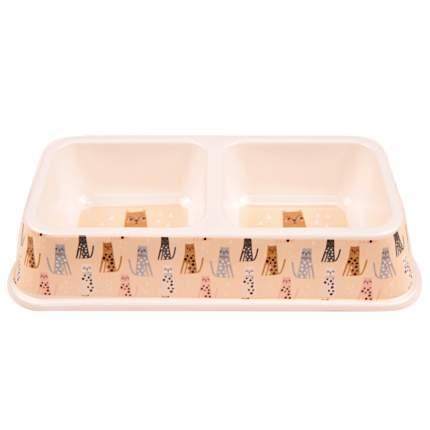 Двойная миска для кошек и собак Bobo, меламин, разноцветный, 25.5x13.5x4.5 см, 330+330 мл
