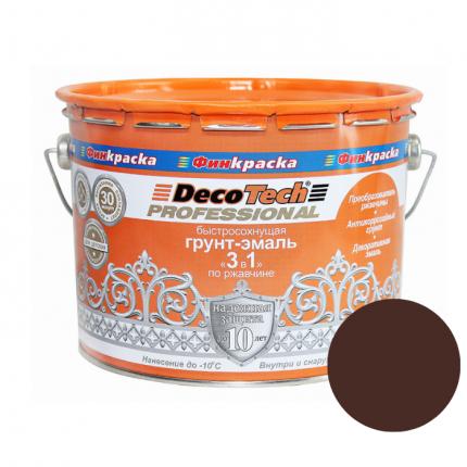 Грунт-эмаль DecoTech 3в1 шоколадно-коричневая (RAL8017) 1,8кг