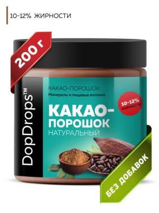 Какао порошок натуральный DopDrops с пониженной жирностью 10-12% без добавок, 200 г