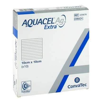 Aquacel Extra Ag / Аквасель Экстра с серебром - абсорбирующая повязка с серебром, 10x10 см