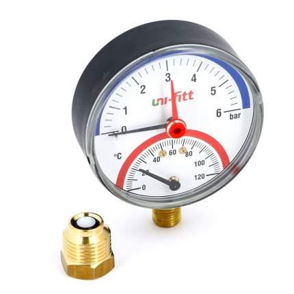 """Термоманометр радиальный 1/2"""" UNI-FITT 6 бар 80 мм"""