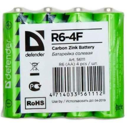 Батарейка AA солевая Defender R06-4F, в термоплёнке 4шт. 56111