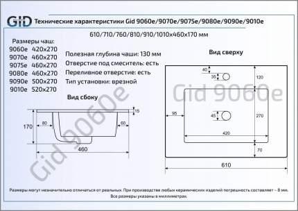 Керамическая раковина GiD 9075E