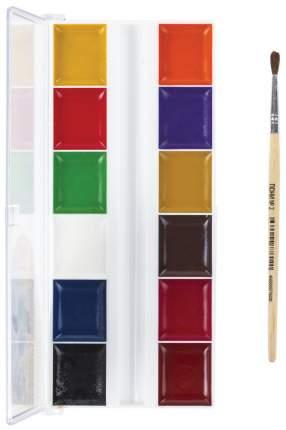 Краски акварельные Школьные 12 цв медовые с кистью