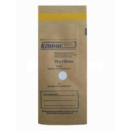 Крафт пакеты КлиниПак с индикатором для стерилизации; КлиниПак;75х150 мм; 100 шт.