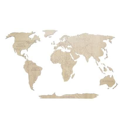 Деревянная карта мира Afi Design 80х40 см Continent Еdition с гравировкой материков, дуб