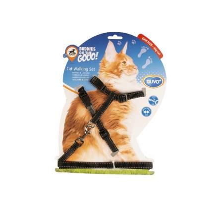 Шлейка для крупных кошек Duvo+ Чёрная с белыми полосками, 11204/DV