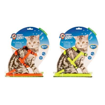 Шлейка для кошек Duvo+ светоотражающая, в ассортименте, 20-35см/125х1см 11205/DV