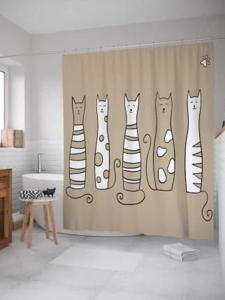 """Штора для ванной JoyArty """"Добрые коты"""" из сатена, 180х200 см с крючками"""