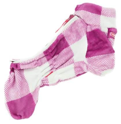 Комбинезон для собак FOR MY DOGS Клетка плюш, женский, розовый, 16, длина спины 33 см