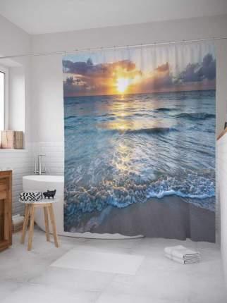 """Штора для ванной JoyArty """"Игривое море"""" из сатена, 180х200 см с крючками"""