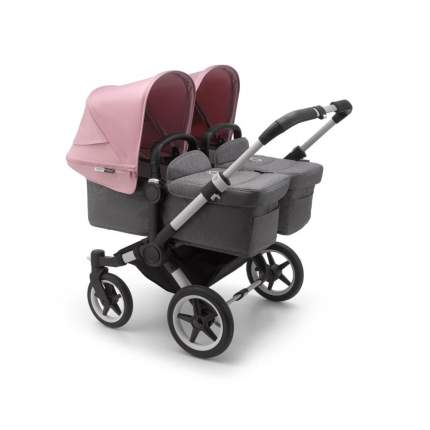 Bugaboo donkey3 коляска 2 в 1 для двойни twin alu/grey melange/soft pink