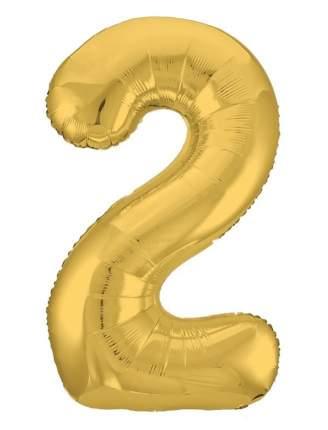 Шар фольга цифра UP&UP 2 38*94 см золотой