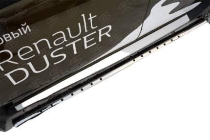 Пороги труба 75х42 овал с проступью для RENAULT Duster 2015