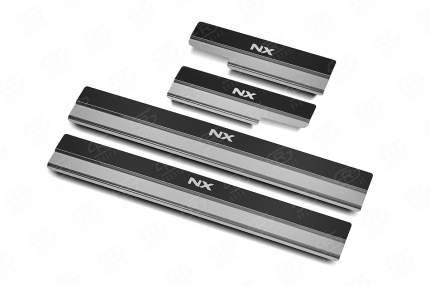 Накладки на пороги RUSSTAL LEXUS NX 2014-2017  (нерж, карбон, надпись) LEXNX14-06