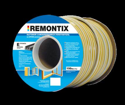 Уплотнитель самоклеящийся для окон и дверей REMONTIX 150 метров, 9*4, 40X, EPDM, Черный