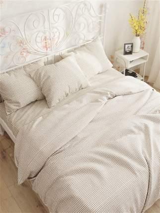 Пододеяльник Сказка -Бежевая клеточка- 2-спальный на молнии 175х215 см