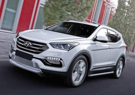 Защита пер. бампера 75x42 овал кор. Rival Hyundai Santa Fe 16-18/Premium 15-16, R.2309.002