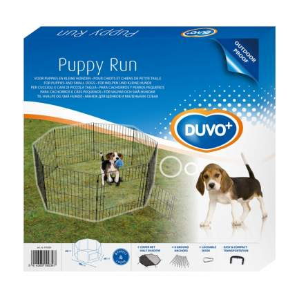 Вольер DUVO+ для собак металлический с дверью, 60х60/D150см, чёрный (Бельгия)