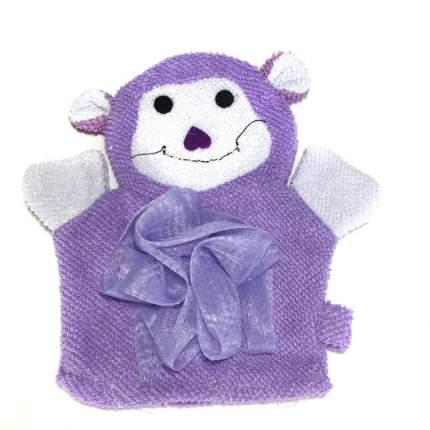 Детская мочалка-варежка в виде зверюшки Comfortable BathLife цв.фиолетовый