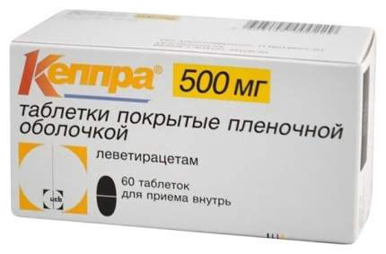 Кеппра таблетки п.п.о. 500 мг 60 шт.