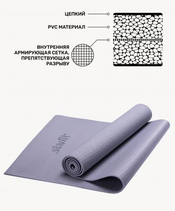 Коврик для йоги FM-101, PVC, 173x61x1,0 см, серый