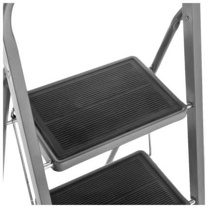 Стремянка стальная Zalger, 2 широких ступени с ковриком