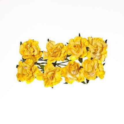 Кудрявые розы из бумаги, упак./8 шт., SCB (280606 нежно-желтые)