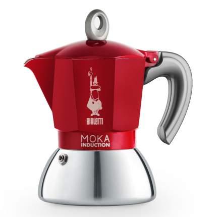 "Кофеварка гейзерная Bialetti ""Moka Induction"", красная, на 6 чашек"