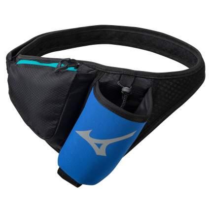 Пояс Mizuno,Running waist bottle bag, размер NS, черный/синий