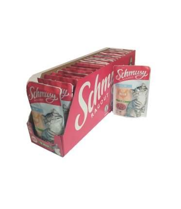 Влажный корм для кошек Schmusy , курица  кусочки в желе, 22шт по 100г