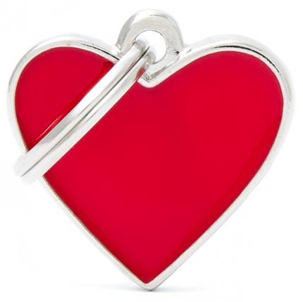 Адресник My Family Basic Handmade в форме сердца для кошек и собак (2,5 см, Красный)