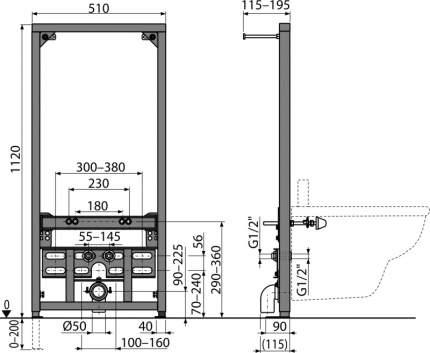 Система инсталляции для биде AlcaPlast A105/1120