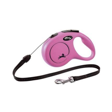 Поводок-рулетка для собак и кошек flexi CLASSIC CORD, трос, 3 м, 8кг, розовый