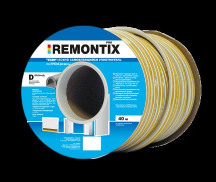 Уплотнитель самоклеящийся REMONTIX для окон и дверей 40 м, 14*12, SD-55C, EPDM, Белый