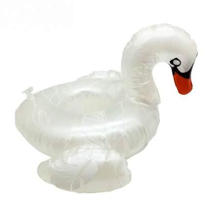 Надувной подстаканник Baziator для напитков в бассейн лебедь, жемчужный с крыльями
