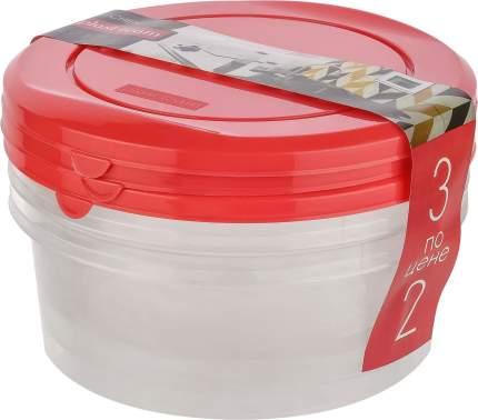Набор емкостей для хранения продуктов PATTERN круглых 3 по цене 2х (3 шт. 0,5л) коралловый