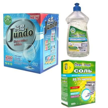 Набор Clean&Fresh для ПММ: ополаскиватель и соль, таблетки Jundo 500 мл+1 кг+200 шт