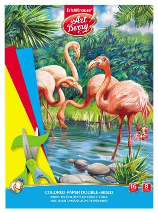 Бумага цветная ArtBerry Фламинго, двусторонняя в папке А4, 16 листов, 8 цветов, игрушка-на